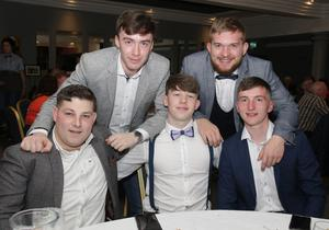 Eddie Chevalier, Adam Buckley, Richard O'Reilly, Mark Buckley and John Winters enjoying their night out at the the Rosslare Strand FC 50th anniversary dinner dance in Coast hotel Rosslare