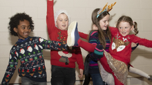 Barntown National School first class pupils Sam Dee, Jesse Kent, Caoimhe Gallagher and Lily Rose Sweeney taking part in the Christmas play in the school