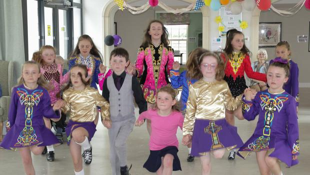Dancers from the Scoil Rince Aisling showing off their skills at the end of term celebrations for Nursing Home Week in Castlebridge Manor nursing home