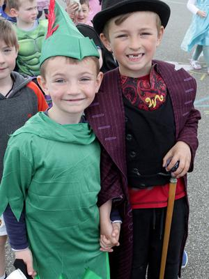 Bobby Murray and Jake Paige dressed up for the annual Fun Run in Scoil Mhuire on Friday morning.