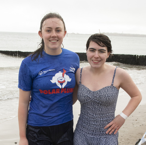 Aoife Burke and Kayla Byrne taking part in the Polar Plunge in Rosslare
