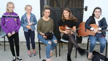 Kate Dwyer, Roisin Dwyer, Bridin Dwyer, Aisling Pender and Aoife Pender performing at the launch of the Wexford Walking Festival weekend at the Thatch Pub, Kiltealy