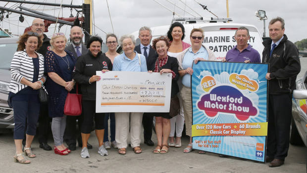 Wexford Motor Show and Wexford Sports & Classic Car Club presented cheques with a total value of €7,247.18 to Wexford RNLI, Special Olympics Ireland, Wexford Women's Refuge and Wexford Marine Watch