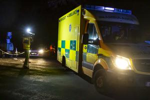 An ambulance at the scene of the air crash on Sunday evening