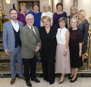 At the retirement function in the Ferrycarrig Hotel (from left) back – Sally Brennan, Eileen Cody, Catherine Creane, Osnat Manning, Dolores Gordon and Grace O'Connor; front – Andrew Power (new principal), Gerry Underwood, Fionnuala Greene, Ita Hannigan and Aileen McNamara