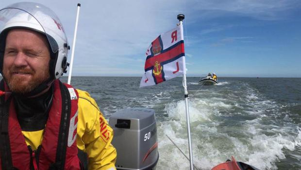 RNLI Helm John Michael Murphy pictured as the rib was towed back to safety