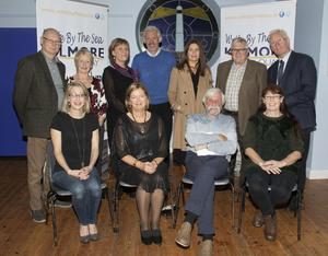 At the launch of Write By The Sea in The Stella Maris Centre, Kilmore Quay, from left, back – author and playwright Billy Roche; Kathleen Tierney, Ballycogley Players; author Fiona O'Rourke; Dr Richard Hayes, author; Ruth Timmins, poet; Brendan Power, storyteller; and Michael Freeman, publisher and author. Seated – author Kat Hogan, Lucy Moore, festival chairperson; and Jackie Hayden, author, who launched the programme; and Martina Carroll, poet