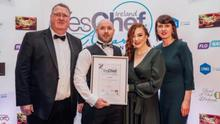 Paul Hynes and Edwina Hynes, from La Cote Seafood Restaurant, receiving their award for Best Seafood Restaurant in Ireland.
