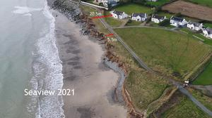 An aerial view highlights the extent of the issue at Seaview