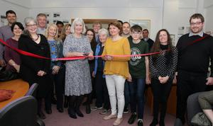 Madeleine Quirke and Lisa Bartsch cut the ribbon at the 20th anniversary of Slaney Language Centre