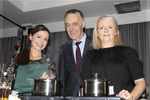 Celebrity chef Catherine Fulvio with Hugh McGuire and Caroline Sinnott from Wexford County Council