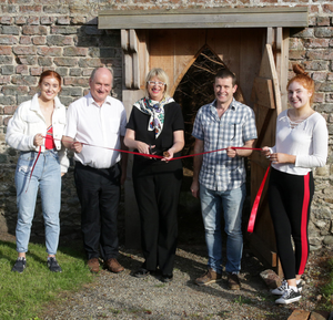 Wexford's Deputy Mayor, Maura Bell, cuts the tape to mark the opening of the 'Earth Walk' in the Parable Garden, Curracloe. Also pictured are Ali Gunning, Michael Drumm, Tom Gunning and Anne Gunning