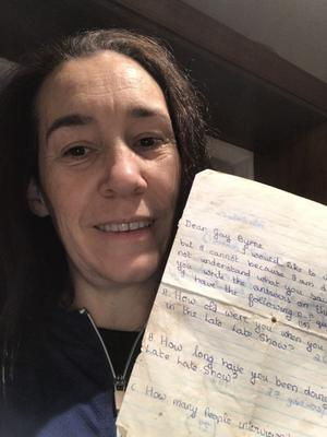Sinead with the letter