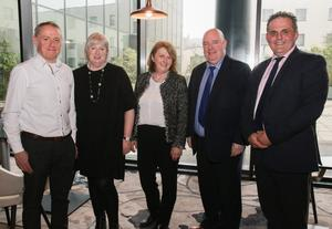 Michael Dillon (manager, Family Life Service), Ger Matthews (director,AACPI), Marian Keisher (chairperson, AACPI), Jim Leacy (manager, Wexford Mental Health Services) and Eifion Williams (TUSLA)
