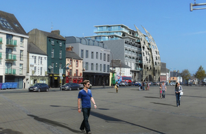 A computer-generated image of how the new hotel will look from the quay
