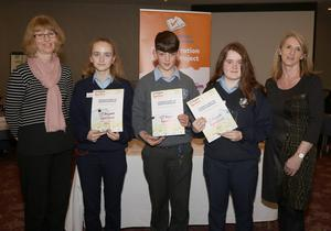 Students of Selskar College, who were the runners-up (from left): Lee Dickerson (teacher), Ola Zwierzchowska, Adam Dempsey, Charlene Kehoe-McManus and Kathleen Moran (senior librarian, JCSP project)