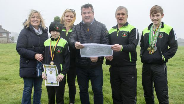 Mayor of Wexford, Cllr George Lawlor, with members of Na Fianna boxing club at a potential site for a new boxing club in Ferndale. From left, Geraldine Barnes, Mary Anne Furlong, Alma Kehoe, Cllr Lawlor, Sean Barnes and Stephen Doyle