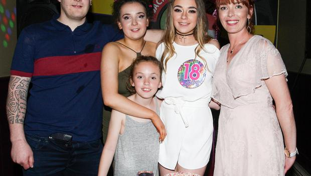 Megan Wadding Byrne celebrates her 18th in Jack Bailey's with John, Jade, Lily, and Emma Wadding Byrne.