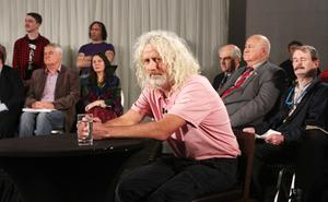 LEFT: Deputy Mick Wallace, who was the only sitting TD to attend the TV3  debate; above: Vincent Browne during the recording of The People's Debate.