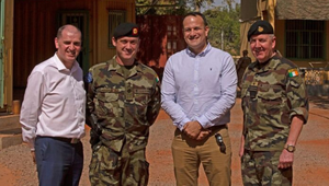 Minister Kehoe, Company Sgt Seamus McManus from Wexford, Taoiseach Varadkar and Defence Forces Chief of Staff Vice Admiral Mark Mellett