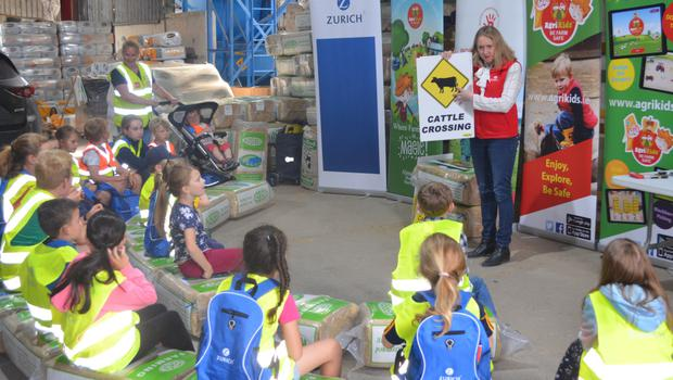 Some of the children at the Zurich AgriKids farm safety event at Kehoe Farming in Foulksmills