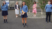 Our Lady of Lourdes in New Ross: Anna Moore, Min Allen and Jessica Beckley, winners of Best Senior Report award, teacher Renée Langton and school principal Toni Ormonde. (Missing from photo are students Ciara Walsh and Gráinne Foley)