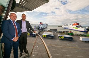 Rosslare Port general manager, Glenn Carr, with An Taoiseach Leo Varadkar during the Taoiseach's recent visit to the port