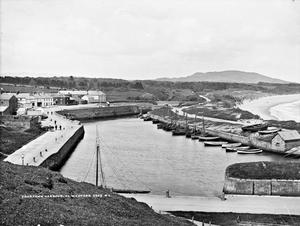 A peaceful day in Courtown Harbour, photographed between 1880 and 1900