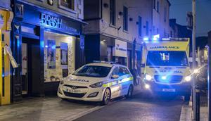 Gardaí and the ambulance at the scene on South Main Street