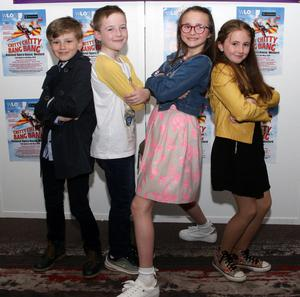 Young members of the Chitty Chitty Bang Bang cast: Charles Lost, Hugh O'Brien, Esme McKiernan Becker and Grace Goggins