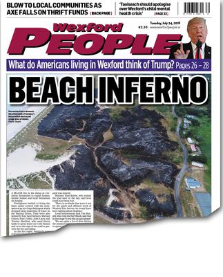 An aerial shot on the front page of the Wexford People on July 24 showing the extent of the damage