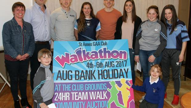 At the launch of St. Anne's Walkathon in Rathangan Bar (from left): Hilda Roche, Charlie White, Eoin Berry, Diarmuid O'Keeffe, Fiona Rochford, Liam Og McGovern, Mairead White, Fraya Berry, Emily Roche and Annie Browne Roche.