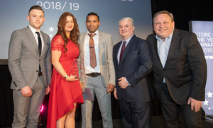 Fionn MacAodhagain (JTI), Lisa Kenny, Akash Deep (Daybreak Drumgoold), Paul Kerrigan (Director, Musgrave MarketPlace), and Noel Keeley (MD, Musgrave MarketPlace) at the Daybreak Store of the Year Awards in Knightsbrook hotel, Trim, Co. Meath