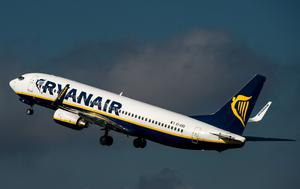 A Ryanair jet takes off.