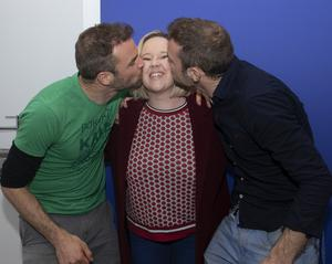 Helena Kennedy gets a kiss from Happy Pear Brothers Stephen and David Flynn