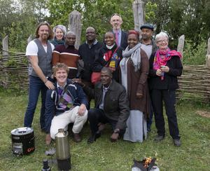 A group from Malawi at one of the events in the Heritage Park, with Conor Fox, Christa Roth of the Malawi Food Fair and Aidan Fitzpatrick, Irish Aid