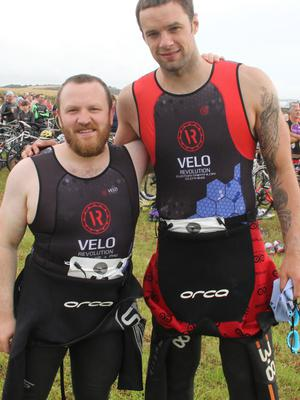 Colm McCormick with Niall (Bressie) Breslin, taking part in the Tri The Hook event.