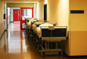Hospital trolleys in the corridor. File picture
