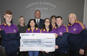 Kirwan & Kirwan Solicitors donate €1,000: Darragh Moran, Eleanor O'Farrell (Kirwan & Kirwan), Denise Dowley, Tim Cummings (Kirwan & Kirwan), Carima Murphy, Mary Barrett, Dean O'Connor and John O'Connor