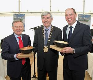 Ministers Brendan Howlin and Paul Kehoe receiving a presentation from Chairman of Wexford County Council Tony Dempsey at the sod turning.