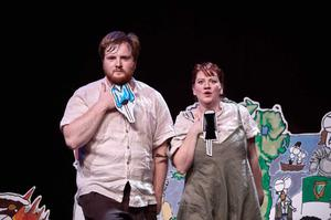 John Ruddy and Louise Conaghan on stage in Manny Man Does the History of Ireland On Stage