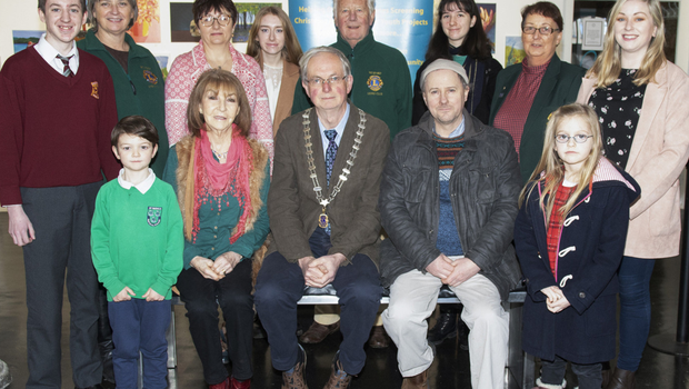 Prizewinners in the annual Lions Club Art Exhibition. Back, from left: Seth McGuire, Siobhan Tynan (Lions Club), Beata Isgkalska, Jessica Ruane, Jimmy Meyler (Lions Club), Zoe Wright, Hilda Conway (Lions Club) and Lisa Byrne (Wexford Art Centre). Front, from left: Jess O'Sullivan, Mary Archer, Joe Costello (president, Lions Club), Colm O'Brien (overall winner) and Holly Doyle