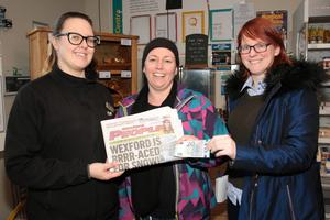 Martina Stanners from Murrintown in Flanagan's Centra, Castlebridge, with Amanda Bail of Flanagans and Anna Hayes, Wexford People.