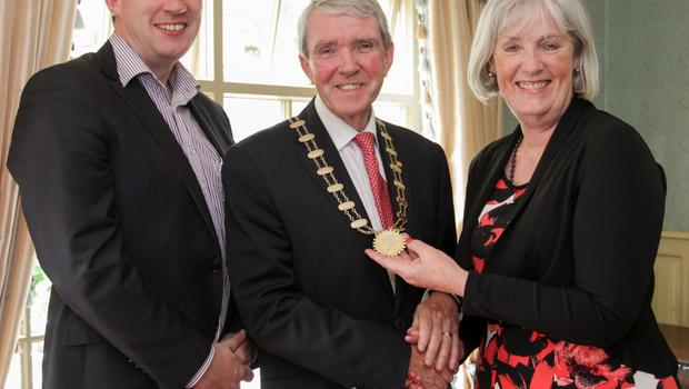 Niall Reck, vice president, incoming president Eddie Breen, and outgoing president Madeleine Quirke.