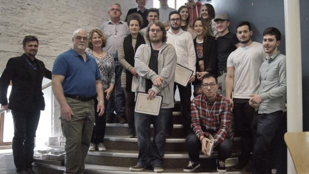 The students with Gordon and Liz. Margaux is fifth from left and Adam Byrne in the front centre.