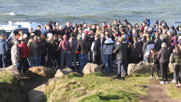 A crowd attending a prayer ceremony on Hook Head for Willie Whelan on Sunday