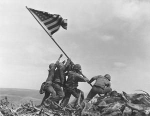 The iconic image of US forces personnel on Mount Suribachi