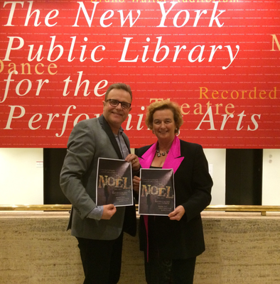 Barbara Jones pictured at The New York Library for Performing Arts with Wexford town native, Michael Londra, in her time as Consul General there