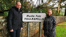 Minister Paul Kehoe with Cllr Brídín Murphy in Foulksmills which was allocated €100,000 in funding under the Town & Village Renewal Scheme