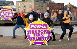 At the launch of the Wexford Has Talent 2020 competition: Frank Clancy, Enda Whelan, Mayor of Wexford George Lawlor, Eoin and Jack Whelan, Melanie Carroll and the 2019 Wexford Has Talent competition winner, Luke Spellacy